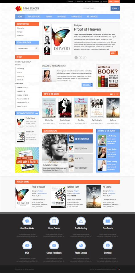 free joomla templates for books jm free ebooks joomla template create downloadable