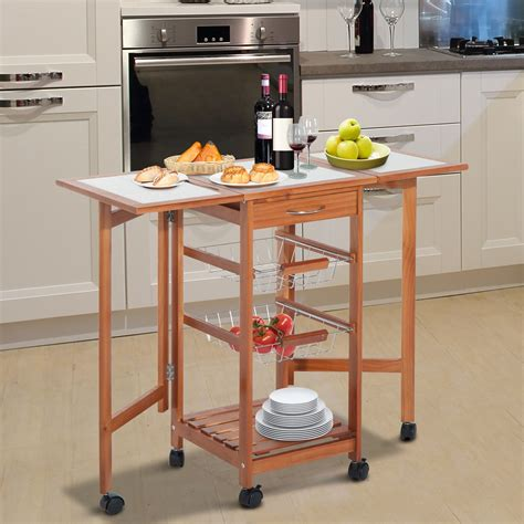 kitchen island table with basket shelf just fine tables homcom folding rolling trolley kitchen cart table island