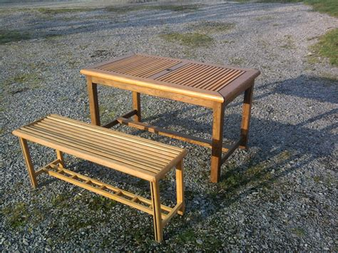 scrap wood outdoor table and bench by davoak