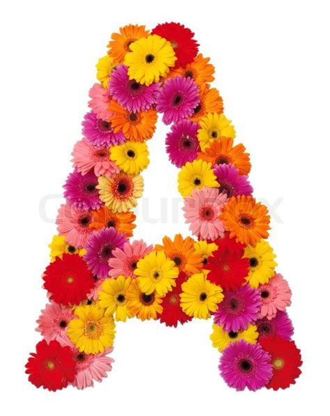 E M O R Y Fleurs 17emo122 letter a flower alphabet isolated on white background stock photo colourbox