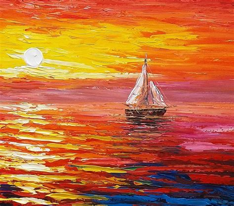 boat canvas art sunrise painting boat painting oil painting original