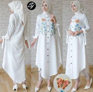 Baju Atasan Warna Putih model baju atasan muslim wanita tunik lengan panjang warna