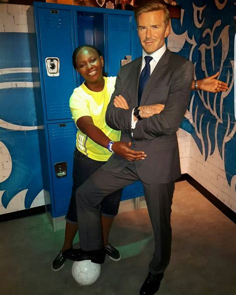 Another Bad Beckham Wax Figure by Carol Radull Poses With David Beckham S Wax Figure