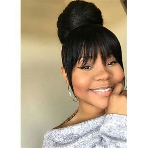 Pictures Of Bun With Bangs Hairstyles For Black Women | high bun with bang black hairstyles pinterest high