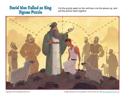 david  called  king jigsaw puzzle childrens bible activities sunday school lessons