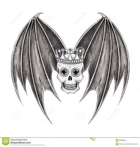 art king skull wings tattoo stock illustration image