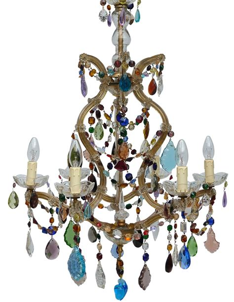 Coloured Chandeliers 5 Arm Therese With Coloured Drops 1 The Vintage Chandelier Company The Vintage