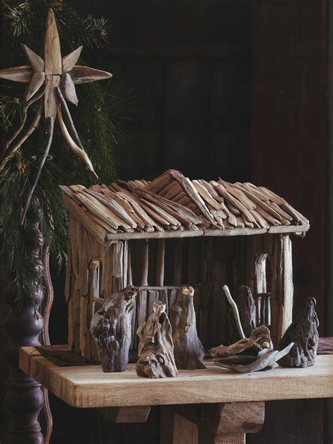 classic wooden manger nativity set christmas decor