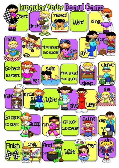 printable games with the verb to be irregular verbs board game verbs pinterest student