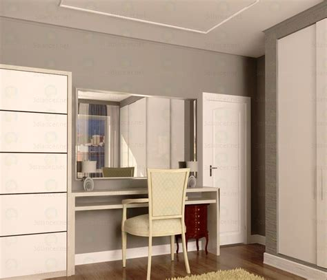 dressing wardrobe 3d model dressing table with mirror and wardrobe in the