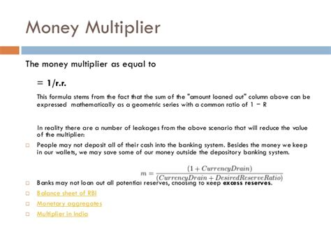 Credit Multiplier Formula Credit Creation Monetary Policy