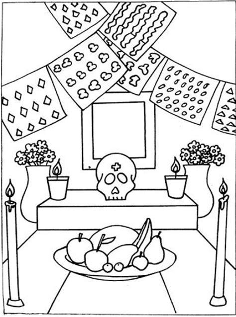dia de los muertos altar coloring pages day of the dead color sheets day of the dead altar free