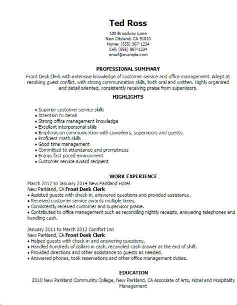 front desk resume exle professional front desk clerk templates to showcase your talent myperfectresume
