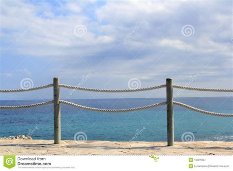banister marine banister railing on marine rope and wood royalty free