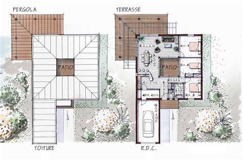plan maison patio central maison moderne avec patio de 96 m 178 et 3 chambres