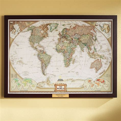 world political map earth toned poster size and framed