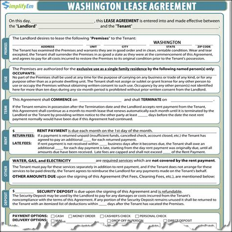 rental agreement template washington state washington lease agreement