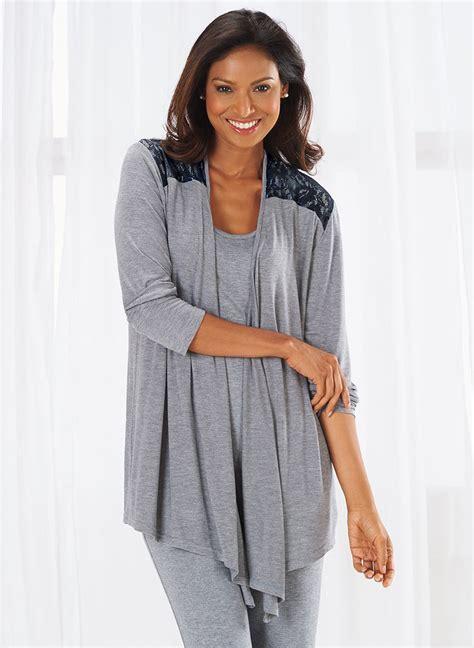sleep jacket knit sleep jacket with lace amerimark online catalog
