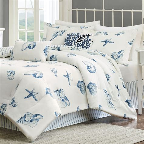 beach bed set beach house seashell coastal comforter bedding