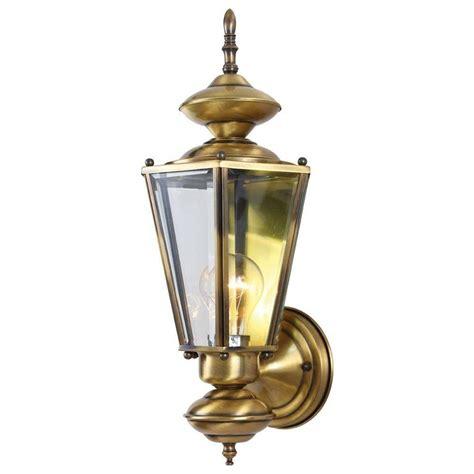 Antique Brass Outdoor Lighting Volume Lighting 1 Light Antique Solid Brass Outdoor Wall Mount V9152 7 The Home Depot