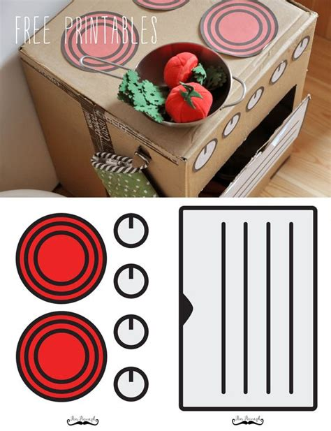 printable play kitchen templates free stickers play kitchens and cardboard boxes on pinterest