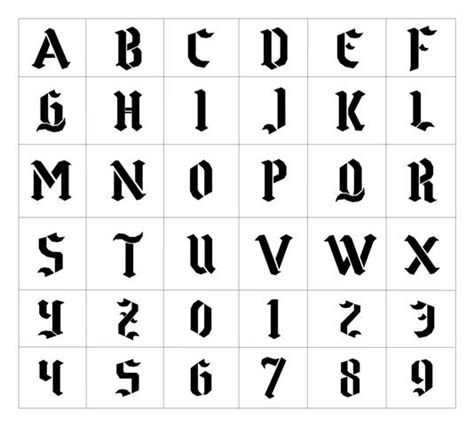 lettere gotiche alfabeto tatouage alphabet gothique mod 232 les et exemples