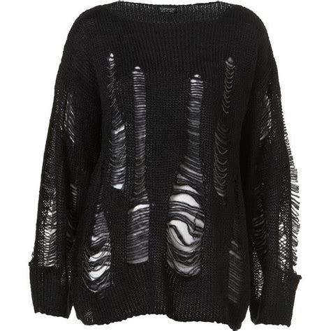 Black Jumper Cc knitted black laddered chain jumper 90 liked on polyvore featuring tops sweaters shirts
