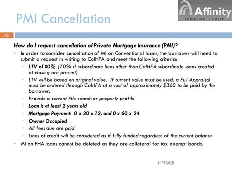pmi insurance cancellation letter alg calhfa ppt