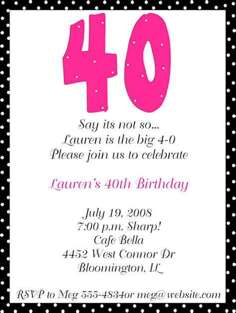 40th birthday invites templates 40th birthday invitation wording baby shower for