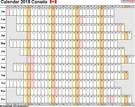 linear calendar template canada calendar 2018 free printable excel templates