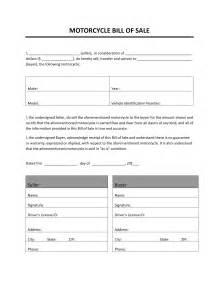 motorcycle bill of sale freewordtemplates net