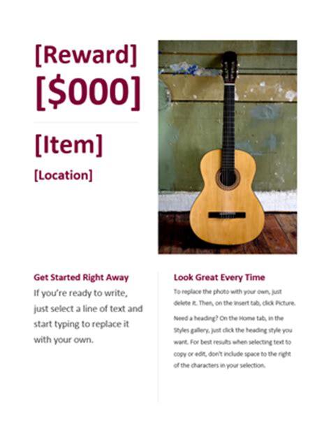 reward poster template reward flyer office templates