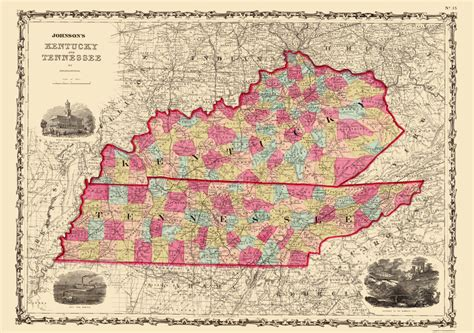 map kentucky and tennessee state maps kentucky and tennessee ky tn by johnson