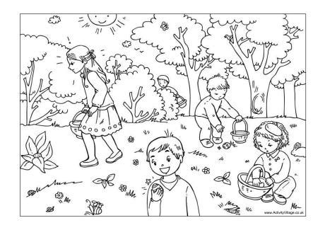 coloring pages easter egg hunt easter egg hunt colouring page 2