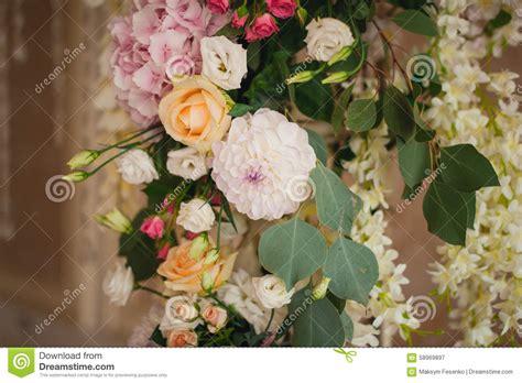 Beautiful Flower Decoration by Beautiful Mixed Flower Wedding Decoration Stock Photo