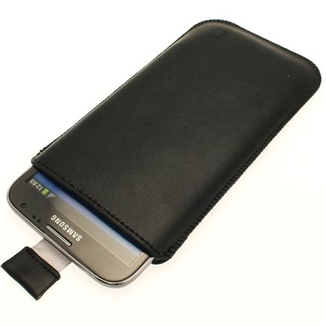 igadgitz black leather pouch case cover for samsung galaxy