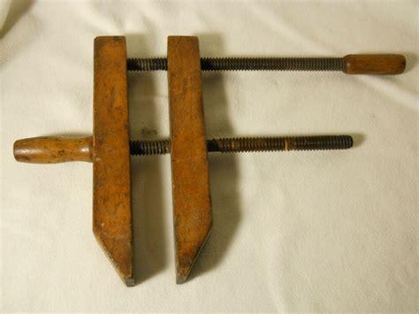 antique vintage wood screw clamp screw vise labeled