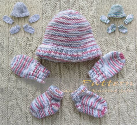 Catell Mittens And Booties Set newborn mittens booties and beanie set knitting pattern