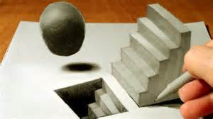 How To Draw 3d Stairs On Paper by Drawing Staircase And Sphere How To Draw 3d Staircase