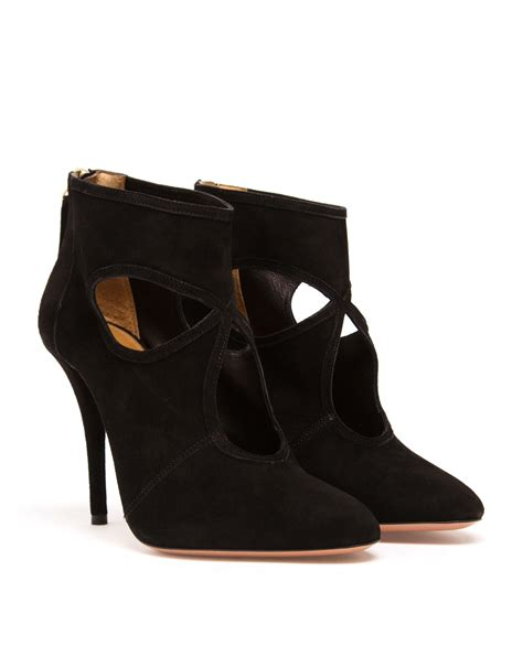 aquazzura boots aquazzura thing suede ankle boots in black lyst