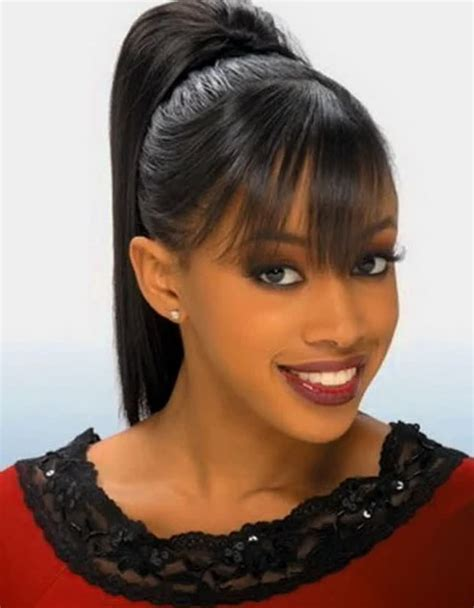 black hairstyles pictures ponytails pictures of black ponytail hairstyles with bangs