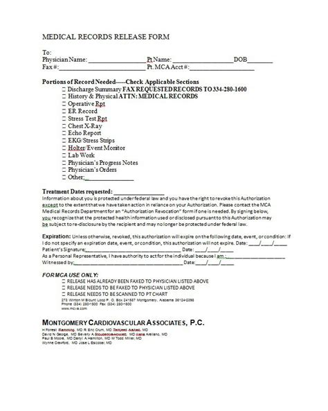 medical release form 30 release form templates template lab