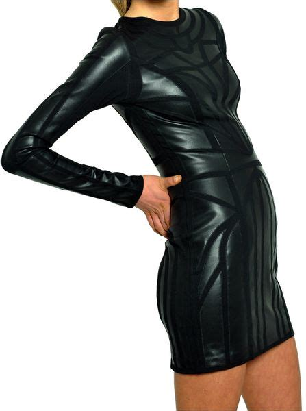 Longsleeve Dgrey Leather Patch amen sleeved dress with leather patch in black lyst