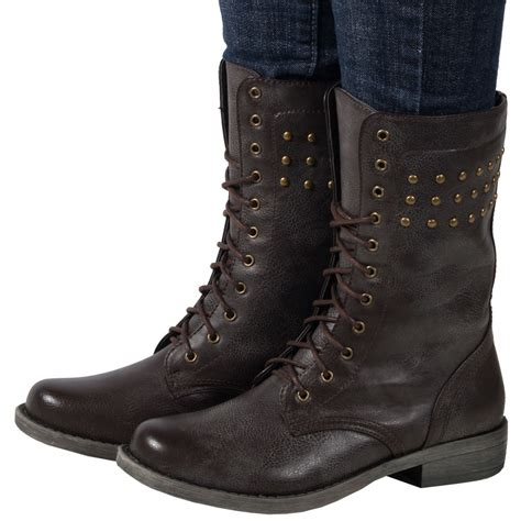 womens low heel flat lace up army combat