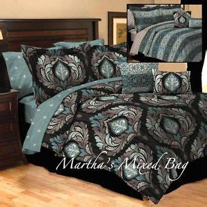 Grey Teal And Black Bedding by 10pc Cal King Teal Gray Black Damask Toile Arabesque