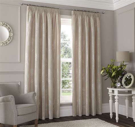 lined drapes beige embroidered floral lined pencil pleat curtains