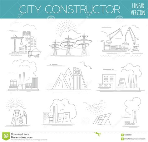 sketch map maker great city map creator house constructor stock vector