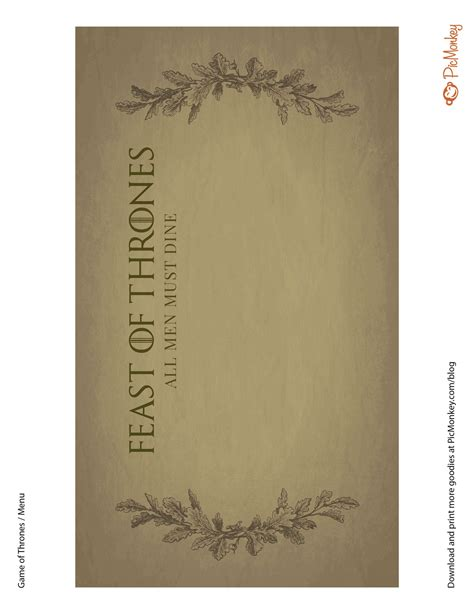 Of Thrones Card Template free printables for your of thrones