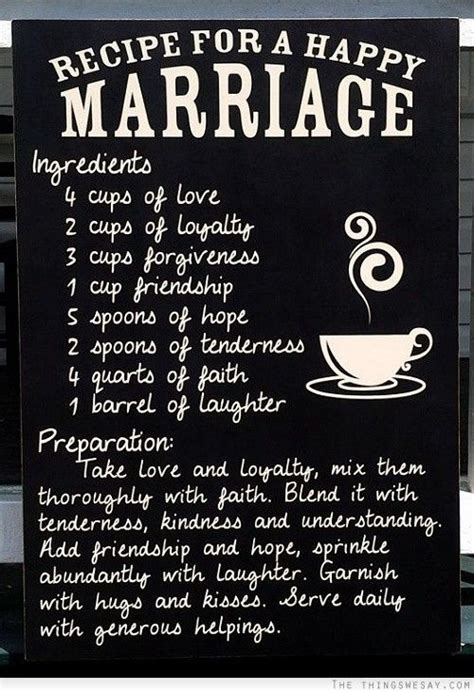 Recipe for a happy marriage   Marriage Quotes   Bridal
