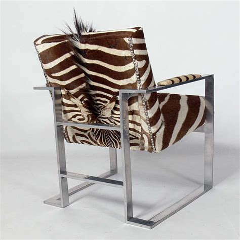 Zebra Chair by Modernist Lounge Chair In Aluminum And Zebra Hide For Sale